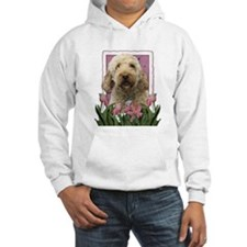 Mothers Day GoldenDoodle Pink Tulips Hoodie