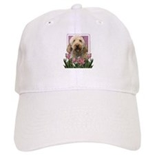 Mothers Day GoldenDoodle Pink Tulips Baseball Cap