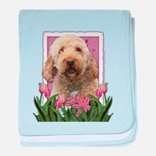 Mothers Day GoldenDoodle Pink Tulips baby blanket