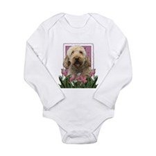Mothers Day GoldenDoodle Pink Tulips Long Sleeve I