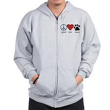Peace Love Paws Zip Hoodie
