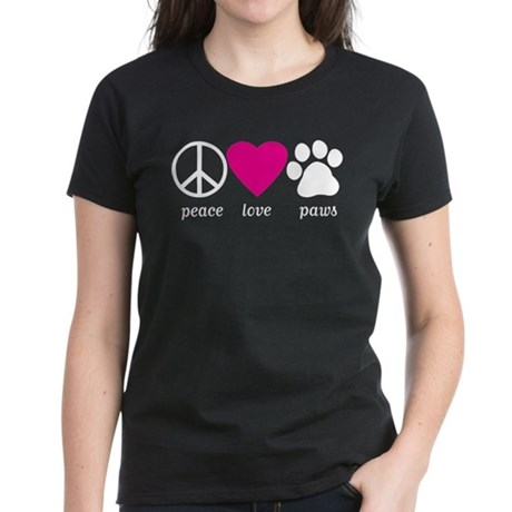 Peace Love Paws Women's Dark T-Shirt
