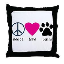 Peace Love Paws Throw Pillow