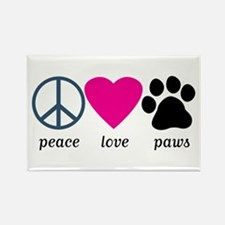 Peace Love Paws Rectangle Magnet