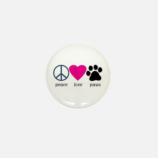 Peace Love Paws Mini Button