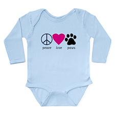 Peace Love Paws Long Sleeve Infant Bodysuit