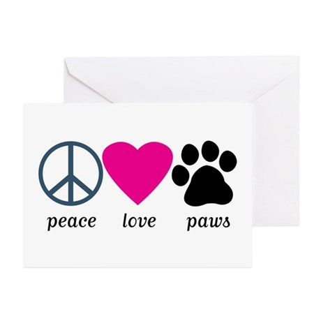 Peace Love Paws Greeting Cards (Pk of 10)