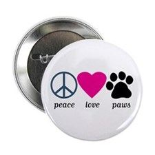 "Peace Love Paws 2.25"" Button"
