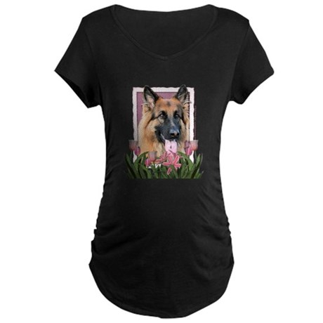 Mothers Day - Pink Tulips Maternity Dark T-Shirt