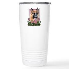 Mothers Day - Pink Tulips Ceramic Travel Mug