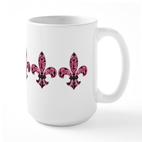 Pink Grunge Fleur Large Mug