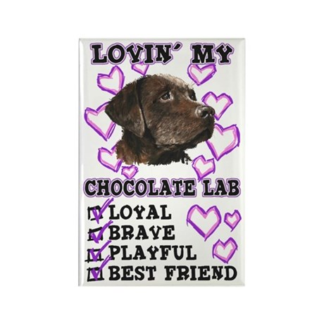 Chocolate Lab Lovin' Rectangle Magnet