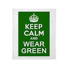 Keep Calm and Wear Green Throw Blanket