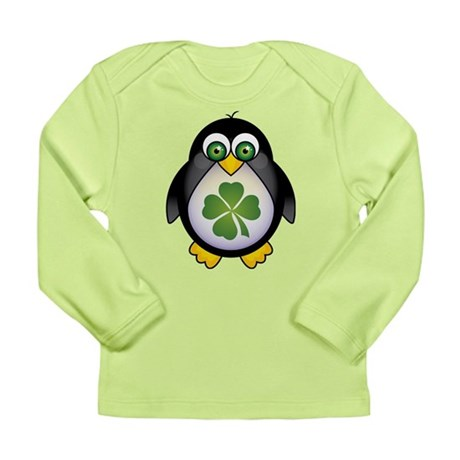 Green Irish Penguin Long Sleeve Infant T-Shirt