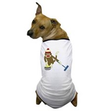 Sock Monkey Olympic Curling Dog T-Shirt
