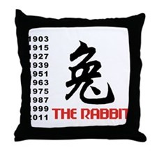 Chinese Symbol Year of The Rabbit Throw Pillow