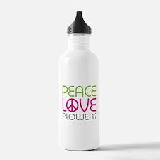 Peace Love Flowers Water Bottle