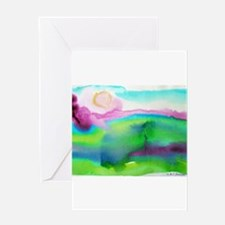 Landscape, Bright, watercolor Greeting Card