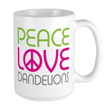 Peace Love Dandelions Large Mug