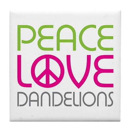 Peace Love Dandelions Tile Coaster
