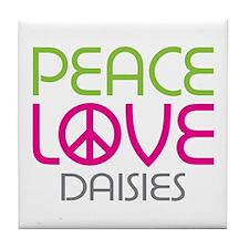 Peace Love Daisies Tile Coaster