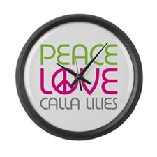 Peace Love Calla Lilies Large Wall Clock