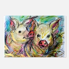 Pig, Couple, Cute, Postcards (Package of 8)