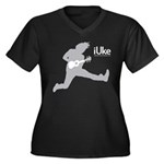 iUke Grey Women's Plus Size V-Neck Dark T-Shirt
