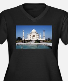 Taj Mahal In Women's Plus Size V-Neck Dark T-Shirt