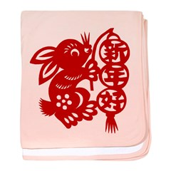 Chinese New Year Rabbit Paper Cut baby blanket