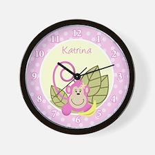 Pink Monkey Jungle Wall Clock
