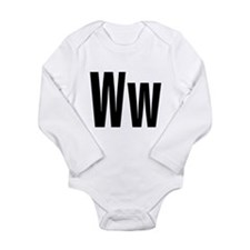 W Helvetica Alphabet Long Sleeve Infant Bodysuit