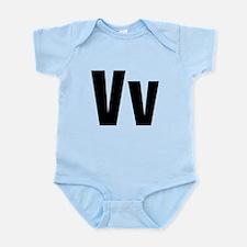 V Helvetica Alphabet Infant Bodysuit