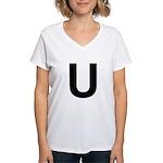 U Helvetica Alphabet Women's V-Neck T-Shirt