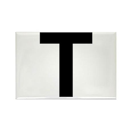 T Helvetica Alphabet Rectangle Magnet
