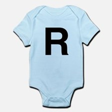 R Helvetica Alphabet Infant Bodysuit