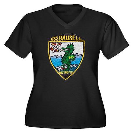 USS BAUSELL Women's Plus Size V-Neck Dark T-Shirt