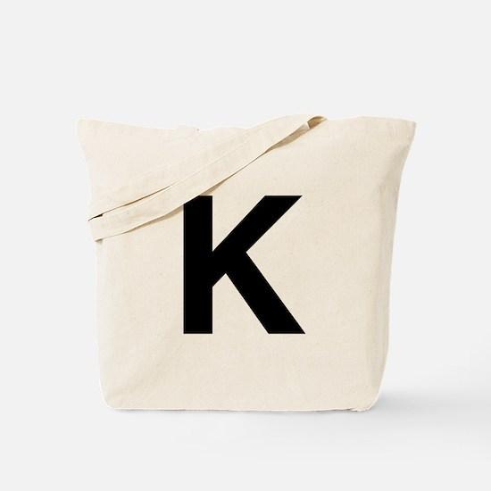 K Helvetica Alphabet Tote Bag