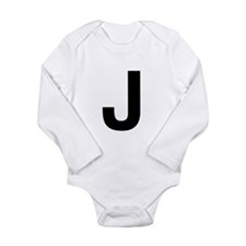 J Helvetica Alphabet Long Sleeve Infant Bodysuit