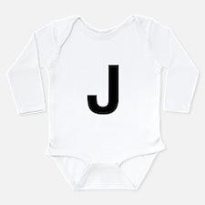 J Helvetica Alphabet Long Sleeve Infant Bodysuit