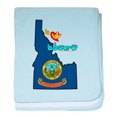 ILY Idaho baby blanket