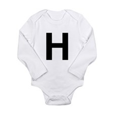 H Helvetica Alphabet Long Sleeve Infant Bodysuit