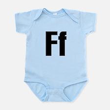 F Helvetica Alphabet Infant Bodysuit