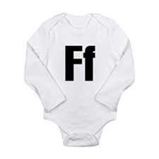 F Helvetica Alphabet Long Sleeve Infant Bodysuit