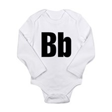 B Helvetica Alphabet Long Sleeve Infant Bodysuit