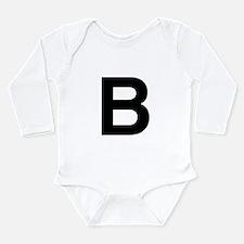 B Helvetica Alphabet Long Sleeve Infant Bodysuit
