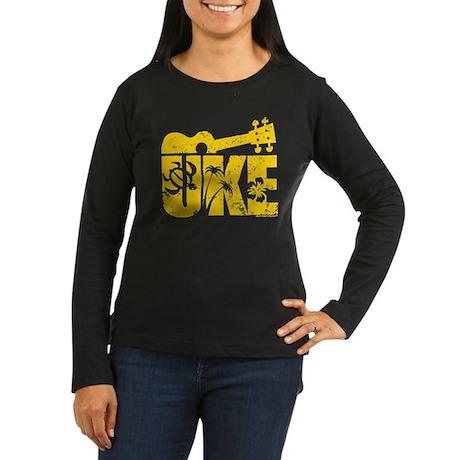 Uke Yellow Women's Long Sleeve Dark T-Shirt