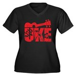 The Uke Red Women's Plus Size V-Neck Dark T-Shirt