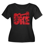 The Uke Red Women's Plus Size Scoop Neck Dark T-Sh