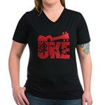 The Uke Red Women's V-Neck Dark T-Shirt